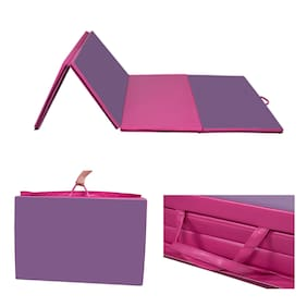 "4'x10'x2"" Thick Folding Yoga Gym Mats Exercise Stretching Fitness Pink & Purple"