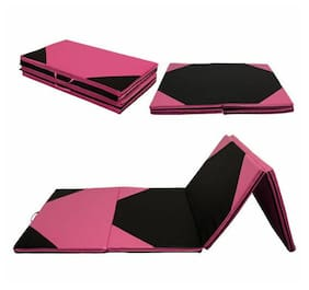 "4'x10'x2"" Thick Folding Gymnastic Gym Exercise Aerobics Mats Fitness Pink&Black"