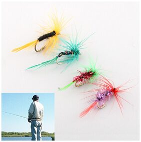 4pcs Various Dry Fly Hooks Baits Fishing Salmon Flies Hook Lures Useful