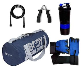 5 O' CLOCK SPORTS Gym Bag for Men Combo of  Body Building Bag-Blue Color