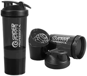 500 ml Protein Shaker Gym Bottle with 2 Storage Compartments Cups ( Random Color )