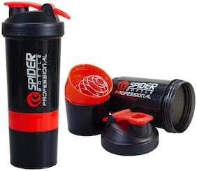 500 ml Protein Shaker Bottle,  Shake Water Bottle, with 2 Storage Compartments Cups ( Assorted Color )