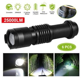 6PCS Waterproof Q5 LED Flashlight Torch Zoomable Tactical 3-Mode High Power Lamp