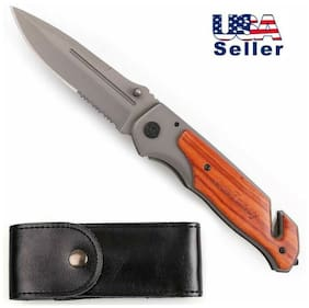 8.5'' Tactical Folding Pocket Knife w/ Clip Outdoor Portable Survival Knife Grey