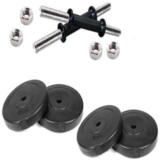 Syndicate PVC Adjustable Dumbbell Set (8 kg) ( 4 KG x2 ) Plate with Rod 1 Pair 14 Inch