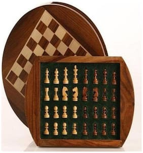 22.86 cm (9 Inch) Round wooden Magnetic collectible chess board