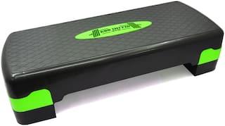 ABB INITIO Polypropylene Adjustable Home Gym Exercise Fitness Aerobic Stepper (Green & Black)