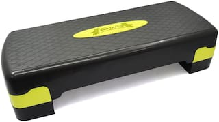 ABB INITIO Polypropylene Adjustable Home Gym Exercise Fitness Aerobic Stepper (Black & Yellow)