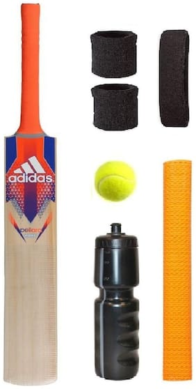 Adidas Sticker Popular Willow Cricket Bat (For Tennis Ball) Size-6 Combo (Kit of 7 Items)