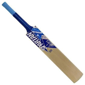 Aneesh&Sons Spartan Blue Sticker Poplar/Popular Willow Cricket Bat (For Tennis Ball) Size-SH (For Age Group 15 Plus Yrs)