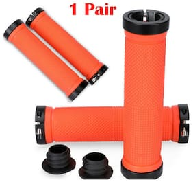 Antislip Double Lock On Locking Mountain Bike Bicycle Handle Bar Grips Handlebar