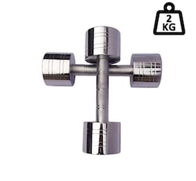 APPSS SPORTS Steel Dumbell Set;Home Gym Set Perfect for Build Muscles;Stamina Great Workout Exercise Range with Hand Grip 2kg;Pack of 2