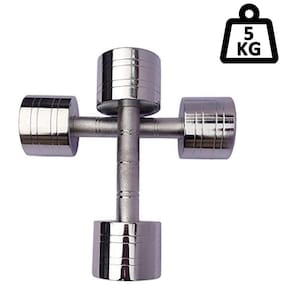 APPSS SPORTS Steel Dumbell Set Home Gym Set Perfect for Build Muscles;Stamina Great Workout Exercise Range with Hand Grip 5kg;Pack of 2
