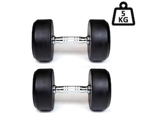 APPSS SPORTS Round Metal Coated Dumbbell Set;Home Gym Set Perfect for Build Muscles;Great Workout Exercise Range with Hand Grip 5 kg Pack of 2