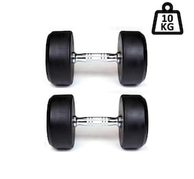 APPSS SPORTS Round Metal Coated Dumbbell Set;Home Gym Set Perfect for Build Muscles;Great Workout Exercise Range with Hand Grip 10 kg Pack of 2