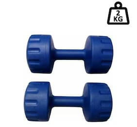 Arnav  Aerobics Pvc Dumbells Fixed Weight 2 kg x 2 No. For Home Gym Exercises Blue Colour