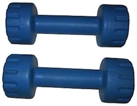 Arnav  Aerobics Pvc Dumbells Fixed Weight 1 Kg x 2 No. For Home Gym Exercises Blue Colour