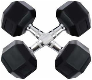 arnav Imported Rubber Coated Fixed Weight Hexagon Dumbbell set of two pcs ( 3 kgx2) Home Gym and Fitness