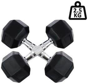 arnav Imported Rubber Coated Fixed Weight Hexagon Dumbbell set of two pcs ( 2.5 kgx2) Home Gym and Fitness