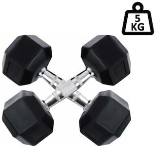 arnav Imported Rubber Coated Fixed Weight Hexagon Dumbbell set of two pcs ( 5 kgx2) Home Gym and Fitness