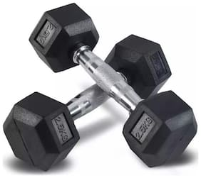 arnav Imported Rubber Coated Fixed Weight Hexagon Dumbbell set of two pcs