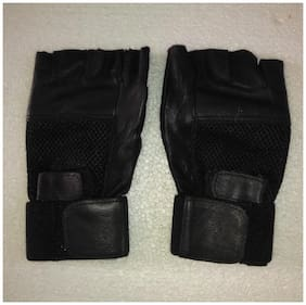 arnav Leather Gym Gloves With Paded and Half Nylon Net One Side Black