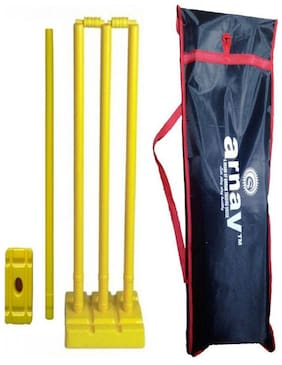 Arnav Plastic Cricket Full Size  Four Stumps  Two Balles  one base of three Stumps  One base of Single stump Bowler side in Tatron Cover