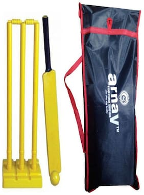 Arnav Plastic Cricket Kit Full Size  Bat  three Stumps  Two Balles  base of three Stumps  Ball with cover