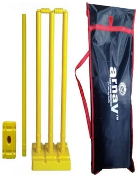 Arnav Plastic Cricket Full Size, Four Stumps, Two Balles, one base of three Stumps, One base of Single stump Bowler side,in Tatron Cover