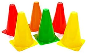 Arnav Plastic Pack of 6 Marker Cones (9 inch) for Soccer Cricket Track and Field Sports