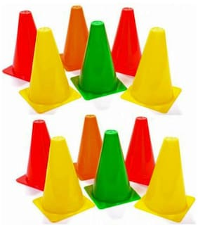 Arnav Plastic Pack of 12 Marker Cones (9 Inch) for Soccer Cricket Track and Field Sports