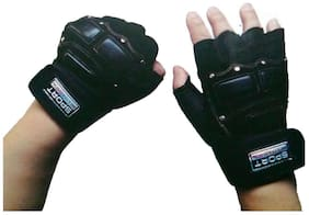 Arnav Sports And Gym Fitness Gloves Best Fashion Black Colour Double Paded Both Side  With Extra Long Strip used as Wrist Band for Wrist Support