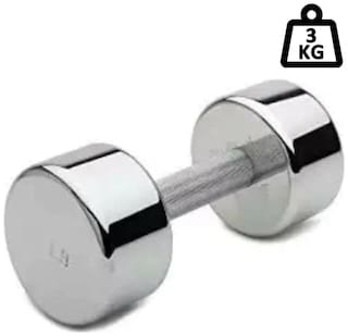 arnav Steel Chrome Fixed Weight Dumbell One Pcs of  3Kg Only  Home Gym and Fitness