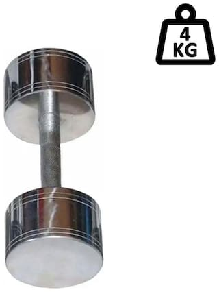 arnav Steel Chrome Fixed Weight Dumbell One Pcs of 4Kg Only  Home Gym and Fitness