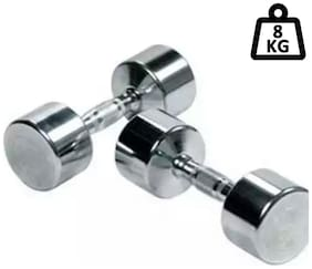 arnav Steel Chrome Fixed Weight Dumbell Set of Two pcs ( 4kgx2) Home Gym and Fitness