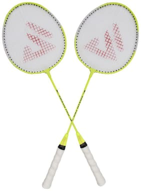 AS SMASH PRO YELLOW BADMINTON RACQUET (SET OF 2 RACQUET) WITH BEST QUALITY COVER.