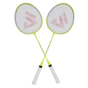 AS SMASH PRO ASSORTED COLOR BADMINTON RACQUET (SET OF 2 RACQUET) WITH BEST QUALITY COVER.