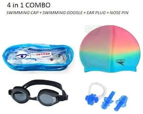 AS SUPER SWIMMING COMBO (MULTI-COLOR SWIMMING CAP + POWER EAR + NOSE CLIP +SWIMMING GOGGLE )(COLOR MAY VERY)