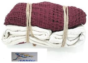 Athlio badminton Cotton Net Maroon Heavy Solid Quality (Pack Of 1)