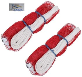 Athlio badminton Nylon Net Red Solid Quality (Pack Of 2)