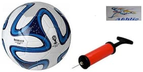Athlio Brazuca Blue/White Football (Size-5)with Air Pump & Needle