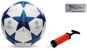 Athlio Champion League Blue/White Football (Size-5)with Air Pump & Needle