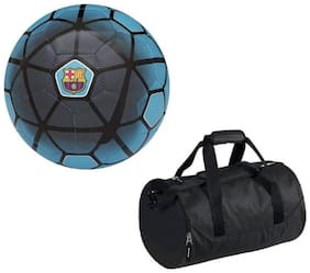Athlio FCB Blue Football (Size-5) with Gym Duffle Bag Combo