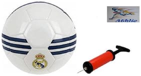 Athlio Madrid White/Blue Football (Size-5)with Air Pump & Needle