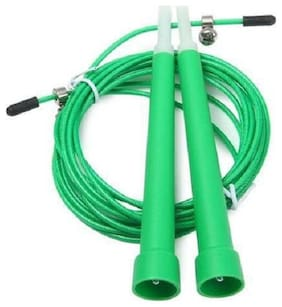AURION Adjustable Steel Cable Wire Speed Skipping Rope (Green, 10ft)