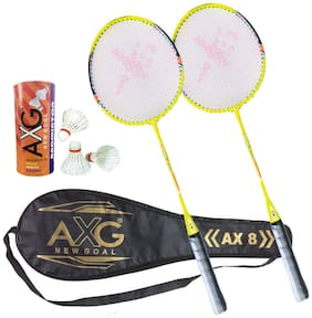 AXG Unavoidable 2 Badminton Rackets With 3 Feather Shuttles And Cover