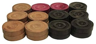 Azotica Carrom Coin Complete Set of 24 Coins Wood Carrom Coins , 1 Tournament Striker and Powder 4