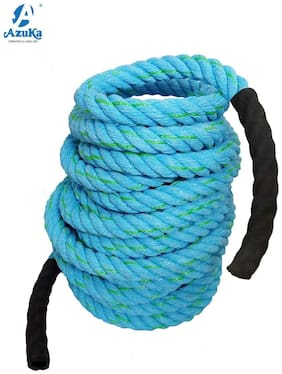 AZUKA Ultimate Fitness Strength Training Battle Rope1.5inch 50ft (Ocean blue) + Free Surprise Poster Inside
