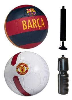 Barca Blue/Red/Yellow + Manchestor United MAN UTD White/Red Football (Size-5) with Air Pump & Sipper