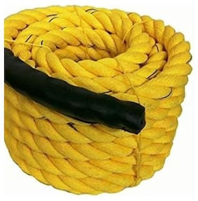 Battle Rope 32mm Thickness Exercise & Fitness Training Equipment Rope (Yellow, 10m - 32mm)